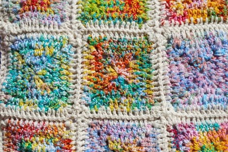 Granny squares made from re-spun sari silk. Bliss to work with.
