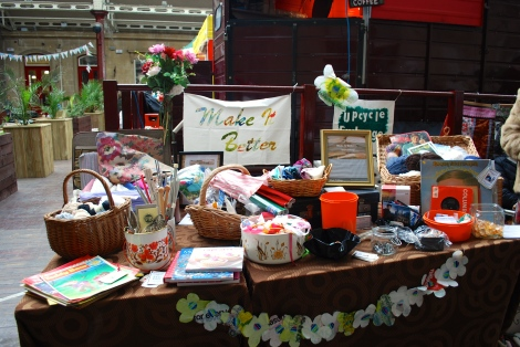 Now then... at first glance you can be forgiven for wondering what this stall is all about. It's really very simple. Bring along and donate any unwanted crafting/haberdashery stuff - fabric - buttons - knitting needles etc and part exchange for goods on display. You simply offer a price if you see something you like.  You don't need to have bought something to exchange you can browse and buy. It's one of those stalls that sucks you in!
